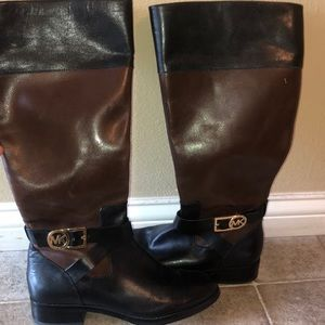 Michael Kors Black Brown Gold Leather Riding Boots